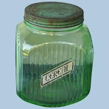 green depression glass canister jar w