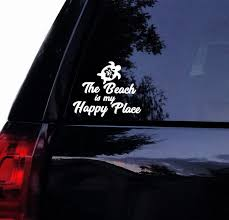 Beach Decal Beach Is My Happy Place Hawaiian Hibiscus Turtle Vinyl Car Decal Laptop Decal Window Car Wall Sticker 15x11 Cm White Wish