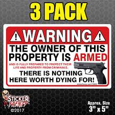 3 Pack Warning Owner Armed Security Sticker Gun Firearm Decal Vinyl Window Fs055 Ebay