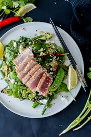 Summer Sesame-Lime Salad with Seared Tuna