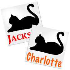 Black Cat With Name Decal For Cup Tumbler Glass Decals By Adavis