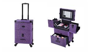lockable makeup train case rolling