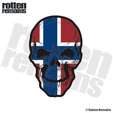 Norway Flag Skull Decal Norwegian Nordic Skulls Vinyl Car Sticker V2 Rotten Remains High Quality Stickers Decals