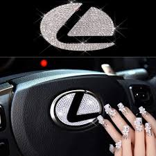 Amazon Com Sparkle Um Steering Wheel Unique Bling Crystal Badge Emblem Overlay Decal Decoration Cover Sticker Trim For 2015 2018 Lexus Automotive