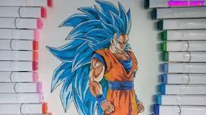 vẽ tranh Goku siêu xayda cấp 3-Drawing ssj3 blue - YouTube
