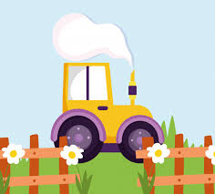 Premium Vector Tractor Truck Wooden Fence Flowers Grass Farm Cartoon Illustration