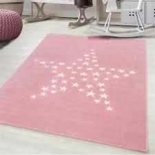 Pink Star Rug Modern Kids Bedroom Baby Girl Mat Childrens Play Room Fl Xrugs