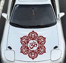 Amazon Com In Style Decals Vehicle Auto Car Decor Vinyl Decal Art Sticker Indian Mandala With Om Symbol Flower Pattern Removable Stylish Design For Hood 1245 Automotive