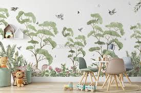Kids Tropical Forest With Cute Rabbits Wallpaper Mural Wallpaper Wallmur