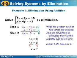 6 3 solving systems by elimination