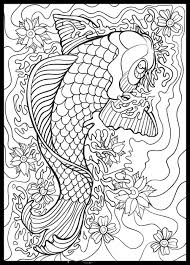 Koi Doodle Abstract Coloring Pages Fish Coloring Page Coloring