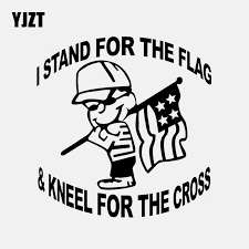 Yjzt 17 3cm 17 8cm I Stand For The Flag And Kneel For Tthe Cross Christian Vinyl Decal Car Sticker Black Silver C3 1416 Aliexpress