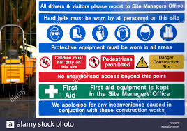 Large Building Site Safety Information Sign On A Wire Security Fence Stock Photo Alamy