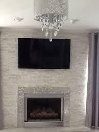 white quartz ledger stone fireplace