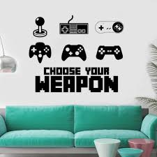 Game Controller Wall Sticker Home Games Decoration Wall Decal Design Vinyl Gamer Mural Boys Room Decor Ay1380 Wall Stickers Aliexpress