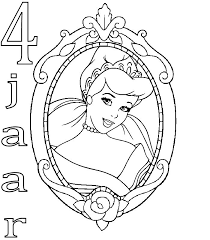 Kids N Fun Kleurplaat Prinsessen Verjaardag Assepoester 4 Jaar