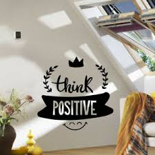 Home Garden Decor Decals Stickers Vinyl Art Think Positively Inspirational Sticker Vinyl Decal Decors Wall Quotes Lounge