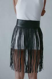 black leather fringe skirt sott