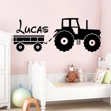 Tractor Wall Sticker Custom Name Boys Kids Room Decoration Forklift Decal Babys Bedroom Removable Decor Art Mural Toy Car Wall Stickers Aliexpress