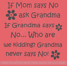 Mom Says No Ask Grandma Vinyl Lettering Decals With Flowers Wall Stickers