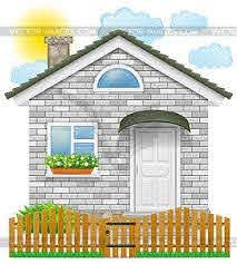 Small Country House With Wooden Fence Vector Eps Clipart