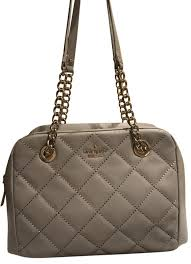 tote satchel handbag purse gray quilted