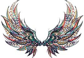 Amazon Com Beautiful Colorful Feather Angel Wings Tribal Pattern Feather Cartoon Art Vinyl Sticker 4 Wide Full Wings Arts Crafts Sewing