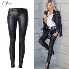 leather pants lady zippers capris