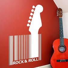 Guitar Barcode Rock Roll Wall Art Sticker Vinyl Music Decal Home Garden Children S Bedroom Words Phrases Decals Stickers Vinyl Art