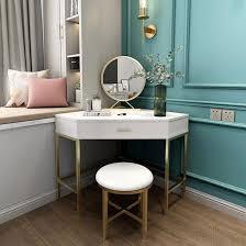 corner makeup vanity with drawer modern