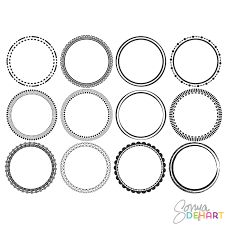 14 circle frame vector images