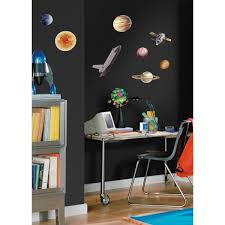 Roommates 10 In X 18 In Space Travel 24 Piece Peel And Stick Wall Decals Rmk1003scs The Home Depot