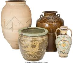 Four Large Asian Ceramic Jars. 33-1/2 inches high (85.1 cm) | Lot #61662 |  Heritage Auctions