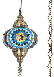 turkish mosaic plug in swag hanging