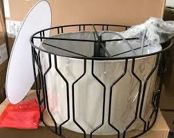 west elm metal honeycomb drum pendant
