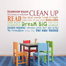 Amazon Com Playroom Rules Wall Decal Multiple Color Version Horizontal Large Handmade