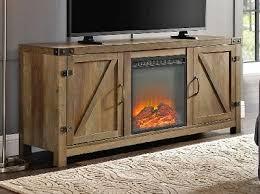 electric fireplace tv stand barn door