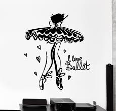 Vinyl Wall Decal Ballerina I Love Ballet Dancer Girl Room Stickers Mur Wallstickers4you