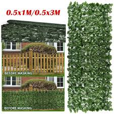 1m 3m Artificial Hedge Ivy Leaf Garden Fence Roll Privacy Screen Balcony Wall Cover Wish