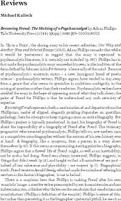 Becoming Freud: The Making of a Psychoanalyst by Adam Phillips ...