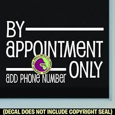 By Appointment Only Add Your Phone Number Retail Vinyl Decal Stick Gorilla Decals