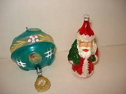 antique blown glass santa ornament