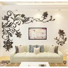 Black Acrylic 3d Wall Decor Sticker Large Beautiful Design Floral Custom Wall Stickers Living Room 3d Wall Decor Wall Decor Stickers