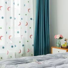 White Star Patterned Cute Sheer Curtains For Kids Room