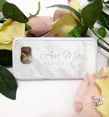 Ava May Addicts - Grey Marble Hard Plastic Phone Case - The Gift Bible Co