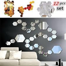High Quality 3d Mirror Hexagonal Vinyl Removable Wall Sticker Decal Home Decoration Art Diy Wish
