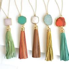 tassel necklace leather tassel