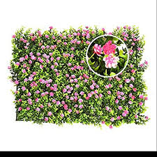 Yunhigh Artificial Hedge With Flowers Faux Greenery Privacy Screens Green Hedge Backdrop Plastic Garden Fake Fence Mat Panel Trellis Wall Decoration Amazon Co Uk Kitchen Home