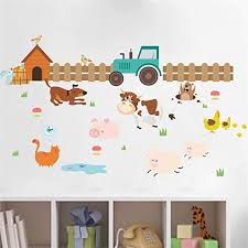Amazon Com Farm Animals Dog Fence Wall Stickers For Kids Rooms Home Decoration Nursery Room Decor Mural Poster Wall Decals Cjzyy Kitchen Dining
