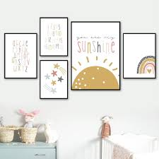 Hot Offer 8d581 Kids Nordic Art Prints Sun Star Paintings Kids Room Alphabet Poster Nursery Wall Art Decor Pictures Baby Room Rainbow Decoration Cicig Co